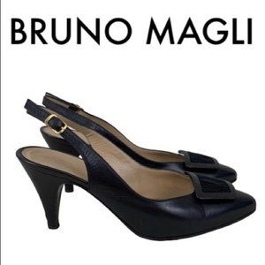 BRUNO MAGLI BLACK LEATHER HEELS SIZE 6
